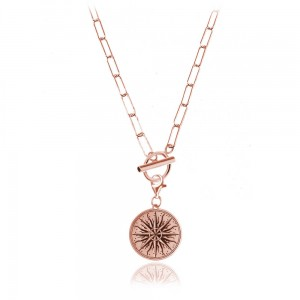Naszyjnik srebrny Margot toggle Geo - rose gold